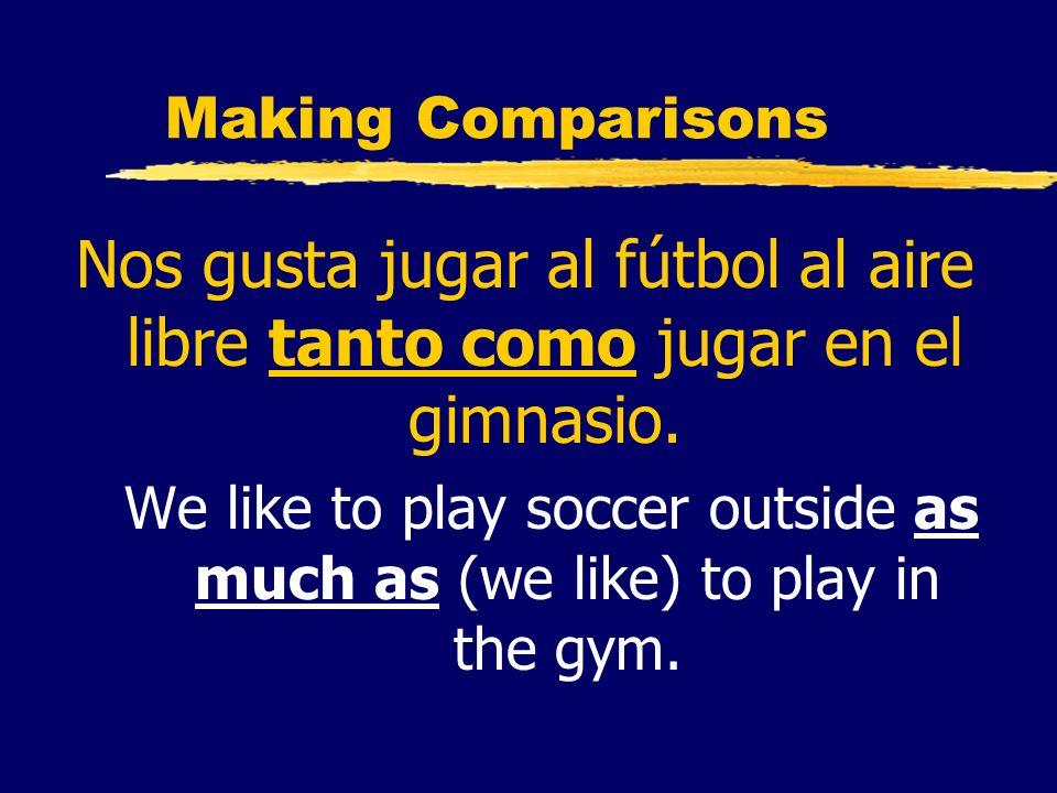 Making Comparisons Nos gusta jugar al fútbol al aire libre tanto como jugar en el gimnasio. We like to play soccer outside as much as (we like) to pla