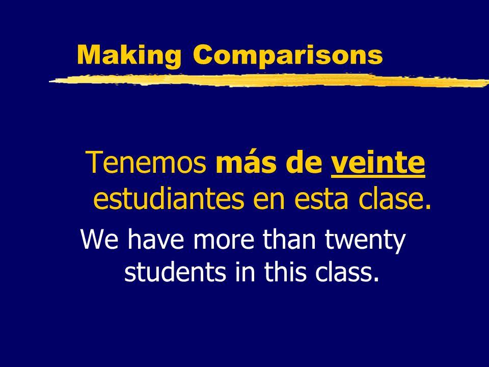 Making Comparisons Tenemos más de veinte estudiantes en esta clase. We have more than twenty students in this class.