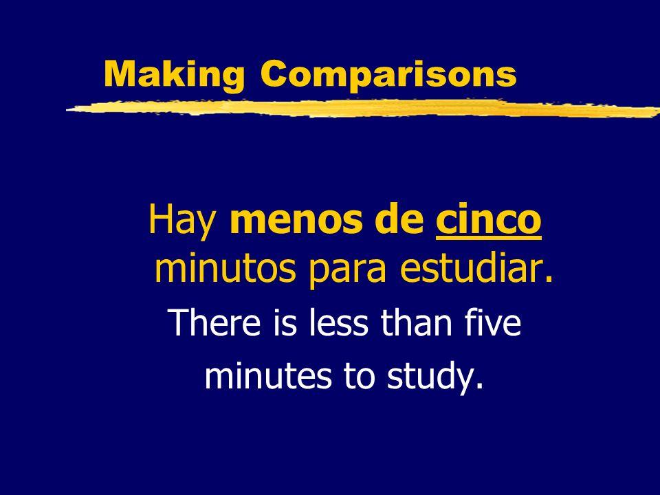 Making Comparisons Hay menos de cinco minutos para estudiar. There is less than five minutes to study.