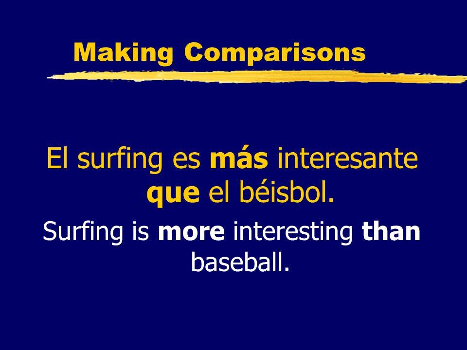 Making Comparisons El surfing es más interesante que el béisbol. Surfing is more interesting than baseball.