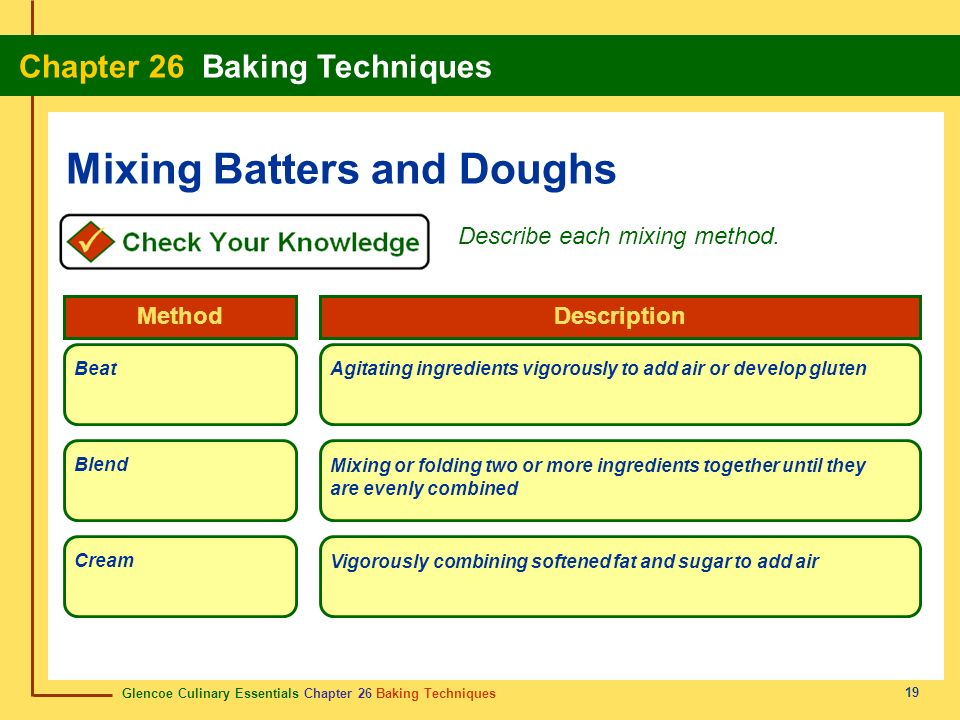 Glencoe Culinary Essentials Chapter 26 Baking Techniques Chapter 26 Baking Techniques 19 Mixing Batters and Doughs Describe each mixing method. BeatAg