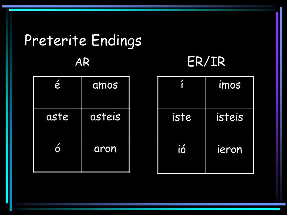 Preterite Endings AR ER/IR éamos asteasteis óaron íimos isteisteis ióieron