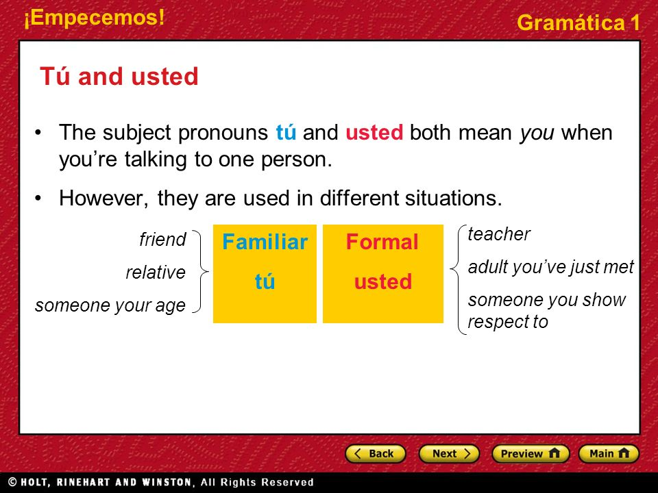 ¡Empecemos! Gramática 1 Tú and usted The subject pronouns tú and usted both mean you when youre talking to one person. However, they are used in diffe
