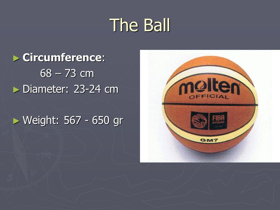 The Ball Circumference: Circumference: 68 – 73 cm 68 – 73 cm Diameter: 23-24 cm Diameter: 23-24 cm Weight: 567 - 650 gr Weight: 567 - 650 gr