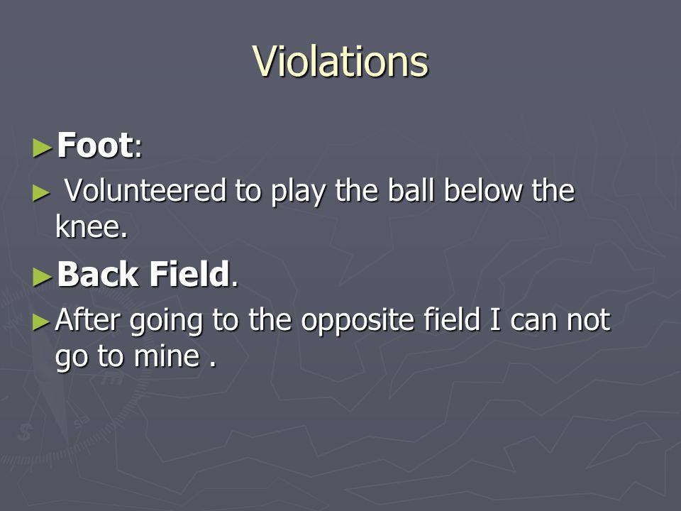 Violations Foot : Foot : Volunteered to play the ball below the knee. Volunteered to play the ball below the knee. Back Field. Back Field. After going