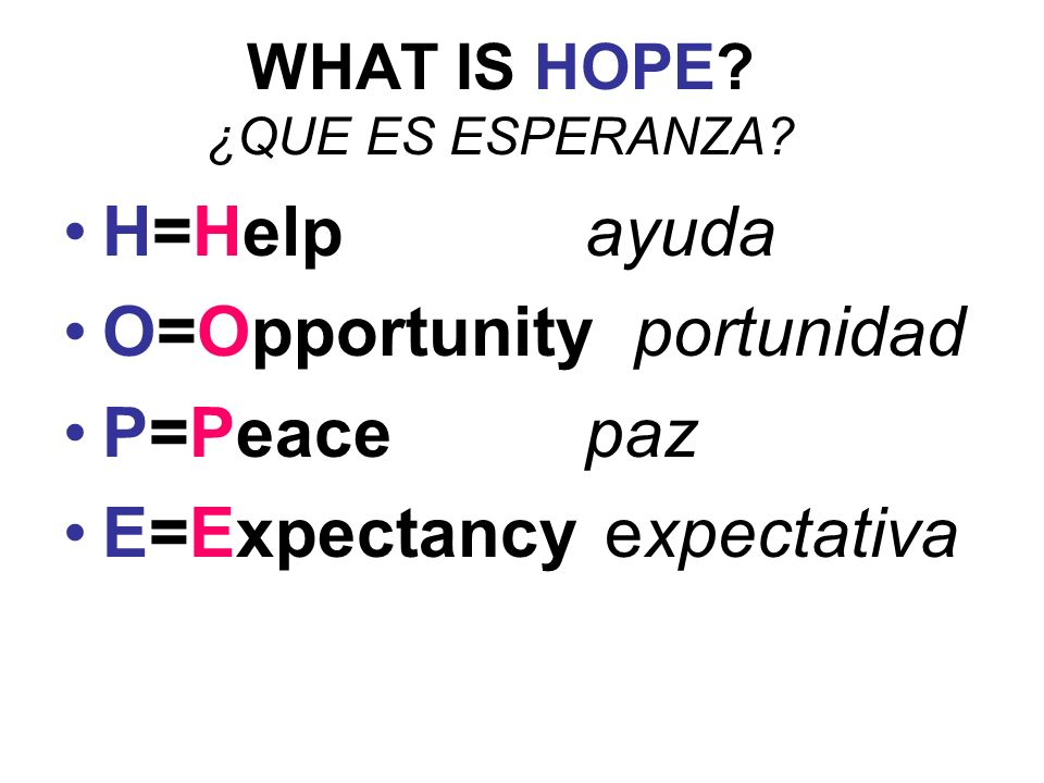 WHAT IS HOPE. ¿QUE ES ESPERANZA.