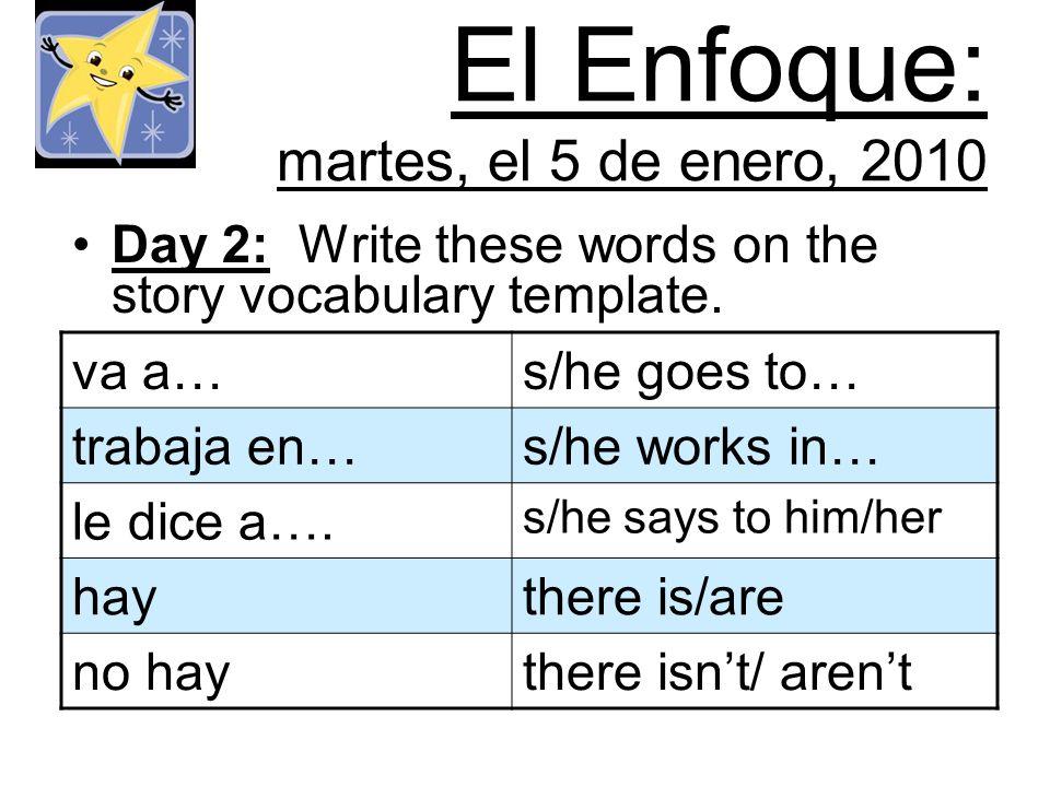 El Enfoque: martes, el 5 de enero, 2010 Day 2: Write these words on the story vocabulary template. va a…s/he goes to… trabaja en…s/he works in… le dic