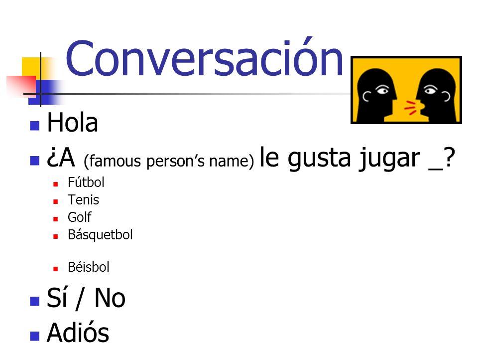 Conversación Hola ¿A (famous persons name) le gusta jugar _? Fútbol Tenis Golf Básquetbol Béisbol Sí / No Adiós
