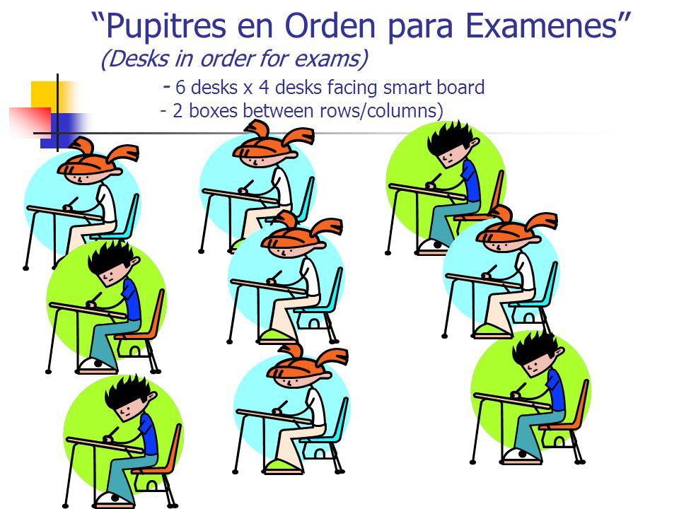Pupitres en Orden para Examenes (Desks in order for exams) - 6 desks x 4 desks facing smart board - 2 boxes between rows/columns)
