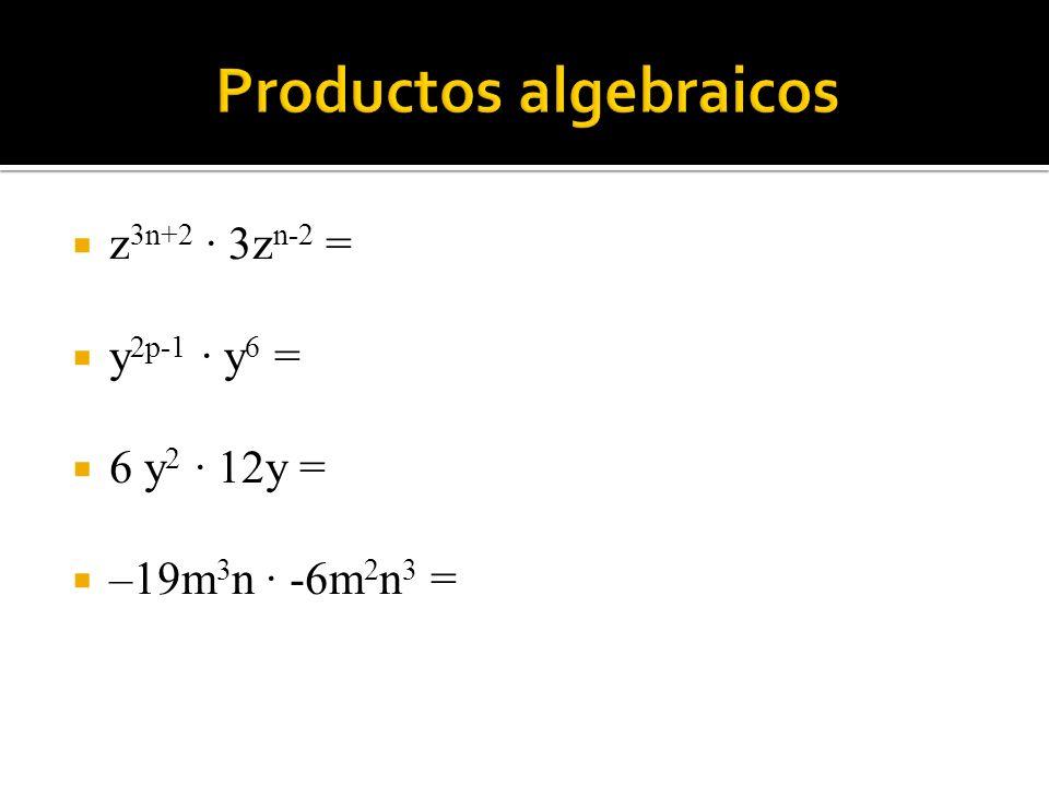 z 3n+2 · 3z n-2 = y 2p-1 · y 6 = 6 y 2 · 12y = –19m 3 n · -6m 2 n 3 =