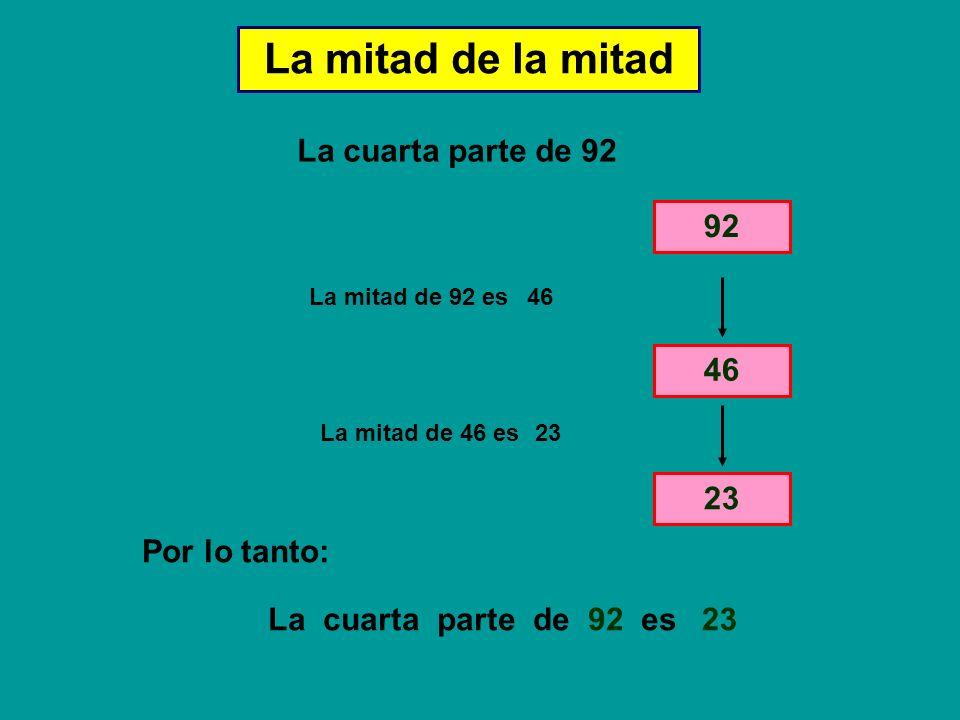 La mitad de la mitad La cuarta parte de 92 La mitad de 92 es 46 La mitad de 46 es 23 La cuarta parte de 92 es Por lo tanto: 23 92 46 23