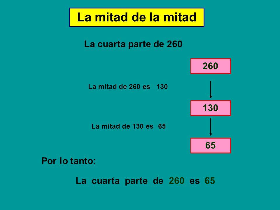 La mitad de la mitad La cuarta parte de 260 La mitad de 260 es 130 La mitad de 130 es 65 La cuarta parte de 260 es Por lo tanto: 65 260 130 65