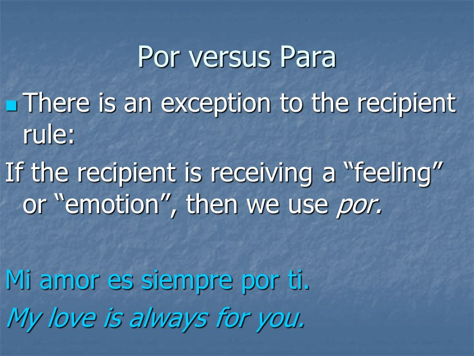 Para Para is used to indicate recipient. Para is used to indicate recipient.