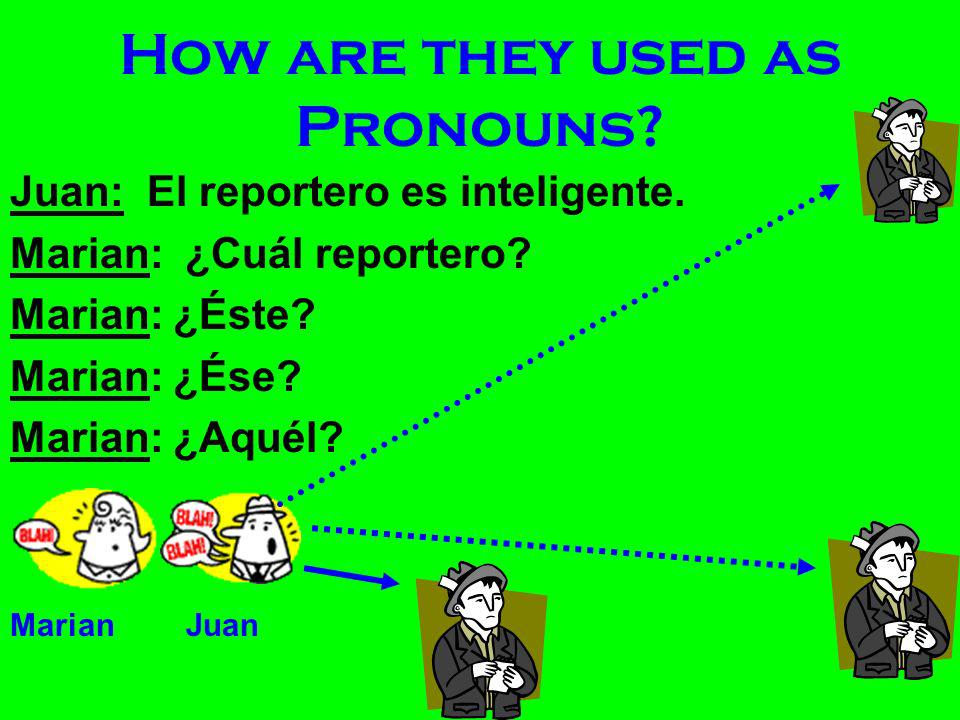 Dem. Adj. as Pronouns What is a pronoun? –A word that takes the place of a noun. Éste(a)/s Ése(a)/s Aquél(a)/s Demonstrative Adjectives may be used as