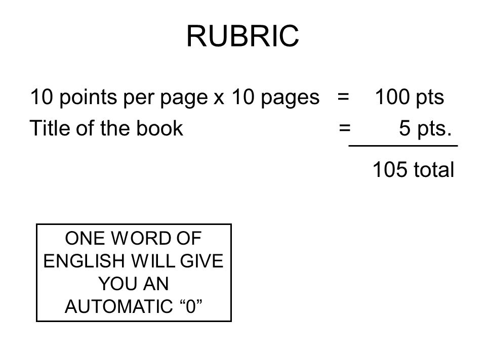RUBRIC 10 points per page x 10 pages = 100 pts Title of the book = 5 pts. 105 total ONE WORD OF ENGLISH WILL GIVE YOU AN AUTOMATIC 0