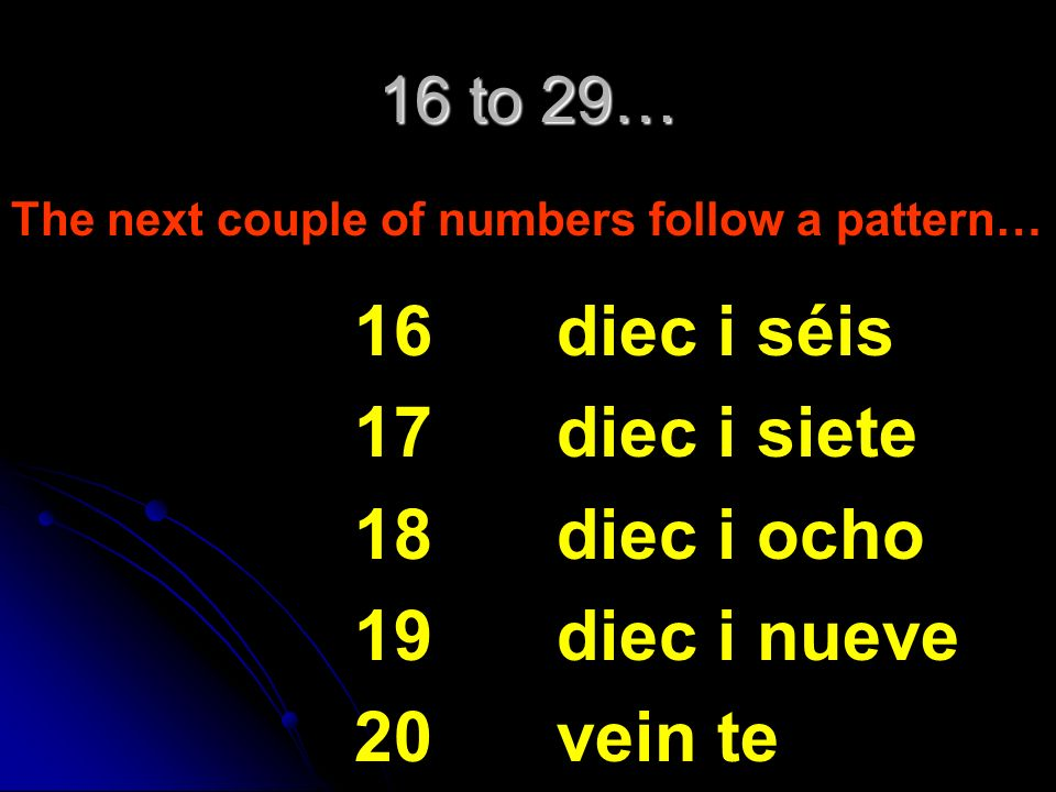 11 to 15… 11 12 13 14 15 once doce trece catorce quince These numbers are irregulars and must be memorized.
