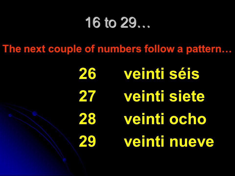 16 to 29… The next couple of numbers follow a pattern… 21 22 23 24 25 veinti uno veinti dós veinti trés veinti cuatro veinti cinco