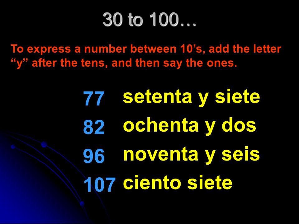 30 to 100… 33 48 59 61 treinta y tres cuarenta y ocho cincuenta y nueve sesenta y uno To express a number between 10s, add the letter y after the tens