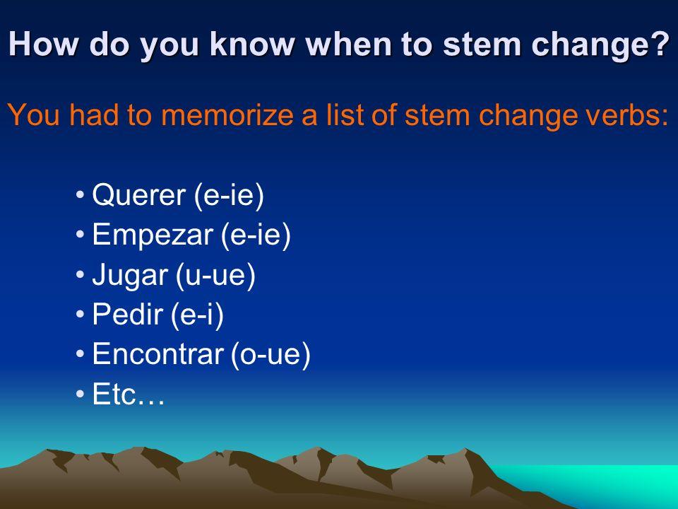 Stem Change Review 1. Remove the ending 2. Find the stem 3. Change the stem 4. Conjugate! FOLLOW THESE STEPS: Q U ERE RIE 1. Quiero 2. Quieres 3. Quie