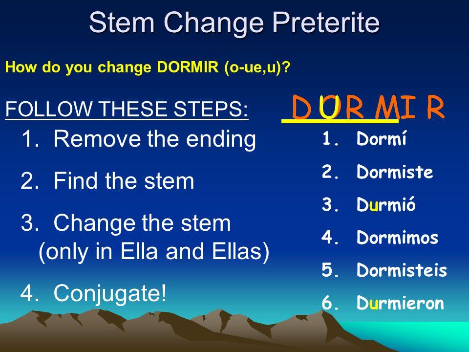 Stem Change Preterite 1.Remove the ending 2. Find the stem 3.