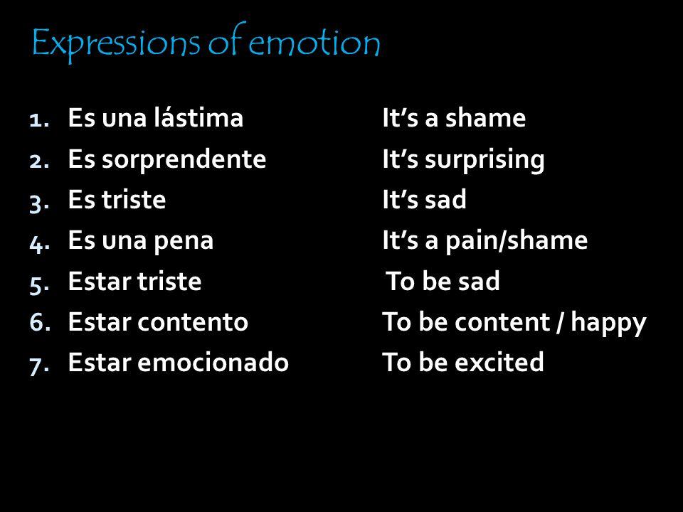 1. Alegrarse de 2. Encantar / Gustar 3. Enojarse 4. Temer 5. Sentir 6. Sorprenderse (de) 7. Tener celos / miedo de verbs of emotion To be happy that T