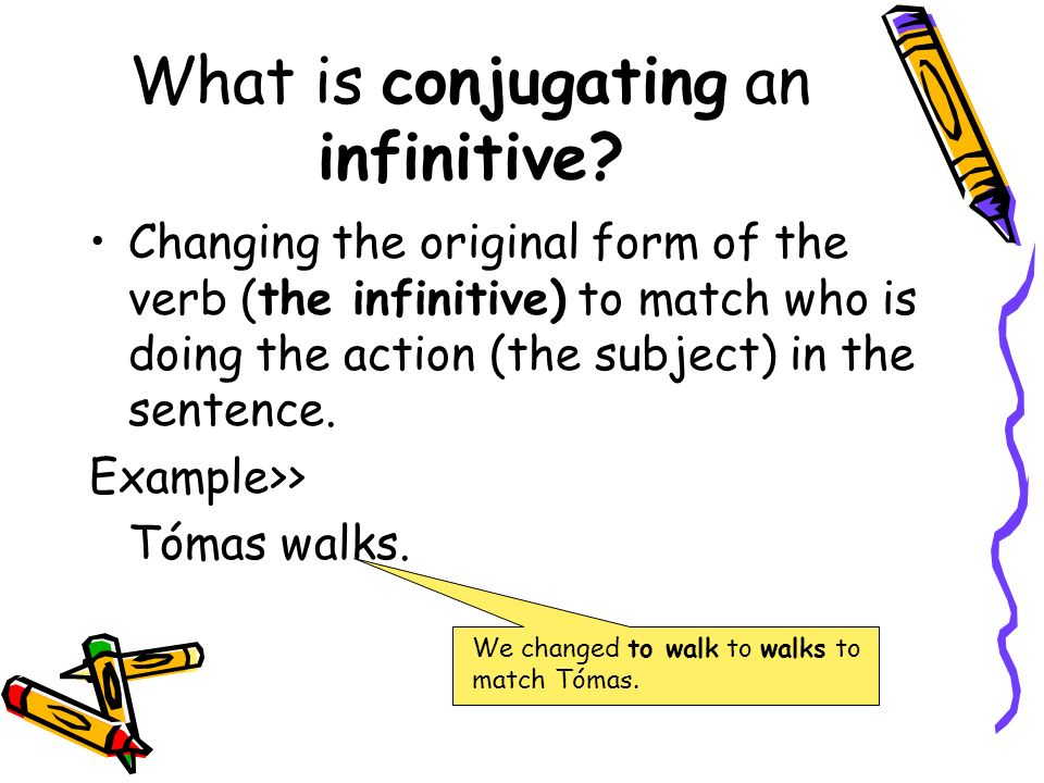 What is conjugating an infinitive? Changing the original form of the verb (the infinitive) to match who is doing the action (the subject) in the sente