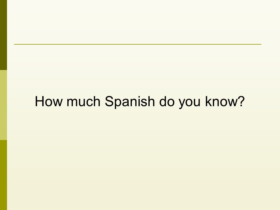 How much Spanish do you know