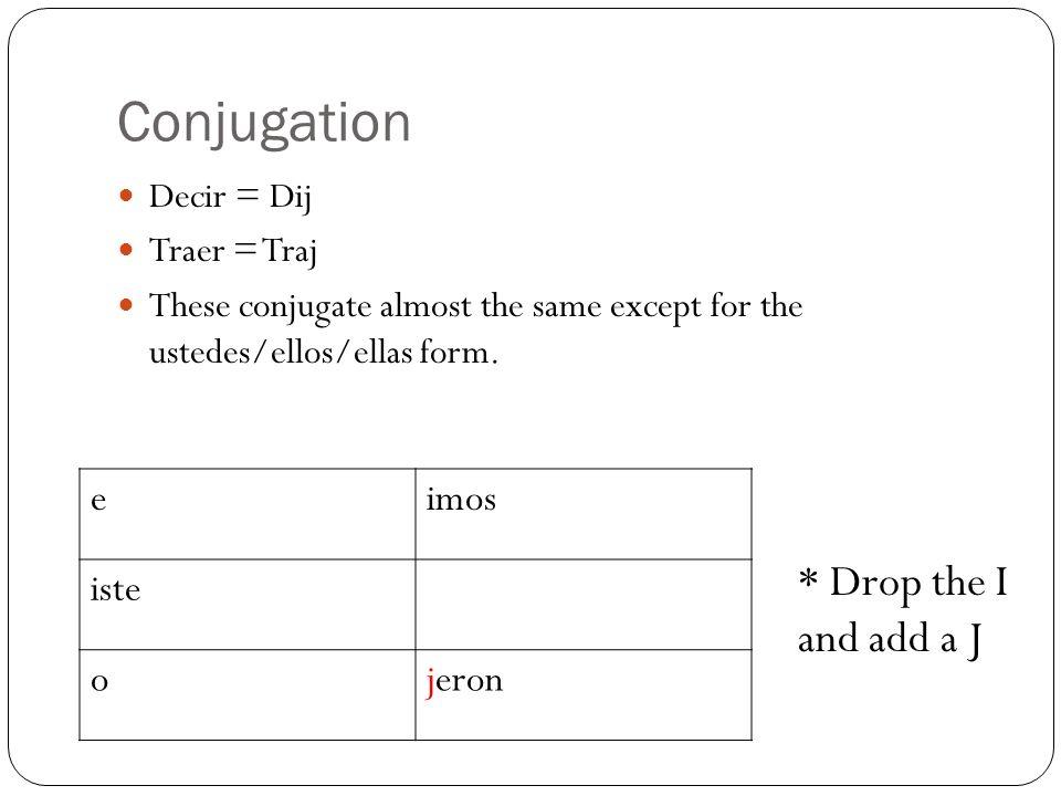 Grab a whiteboard/marker Write out a conjugation chart for venir and querer Conjugate and Translate: Querer (yo) Quise = I tried Querer (tu) Quisiste = You tried Venir (el/ella) Vino = he/she came Querer (nosotros) Quisimos = we tried Venir (ellos/ellas) Vinieron = they