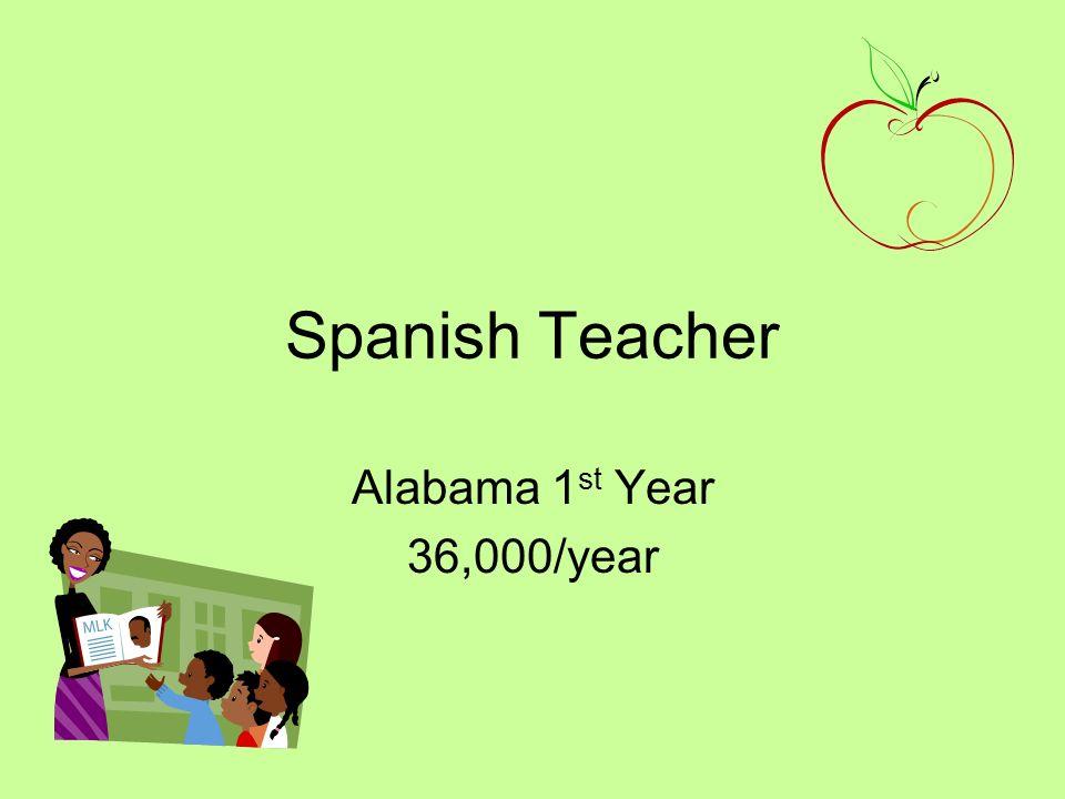 Spanish Teacher Alabama 1 st Year 36,000/year