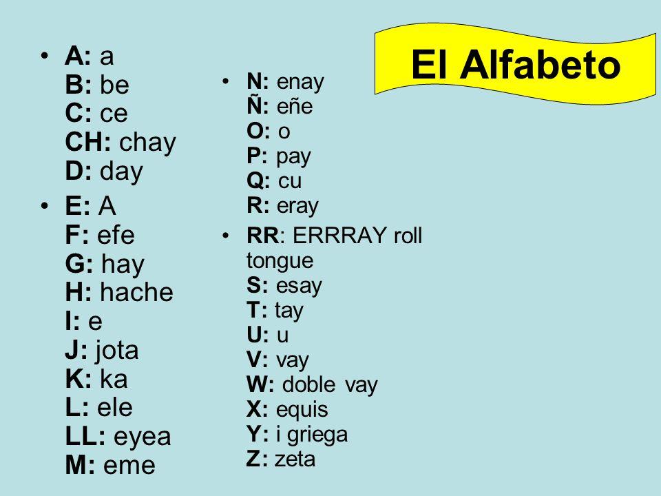 El Alfabeto A: a B: be C: ce CH: chay D: day E: A F: efe G: hay H: hache I: e J: jota K: ka L: ele LL: eyea M: eme N: enay Ñ: eñe O: o P: pay Q: cu R: