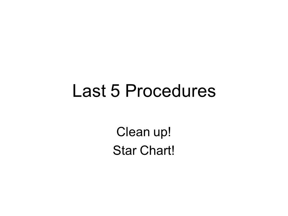 Last 5 Procedures Clean up! Star Chart!
