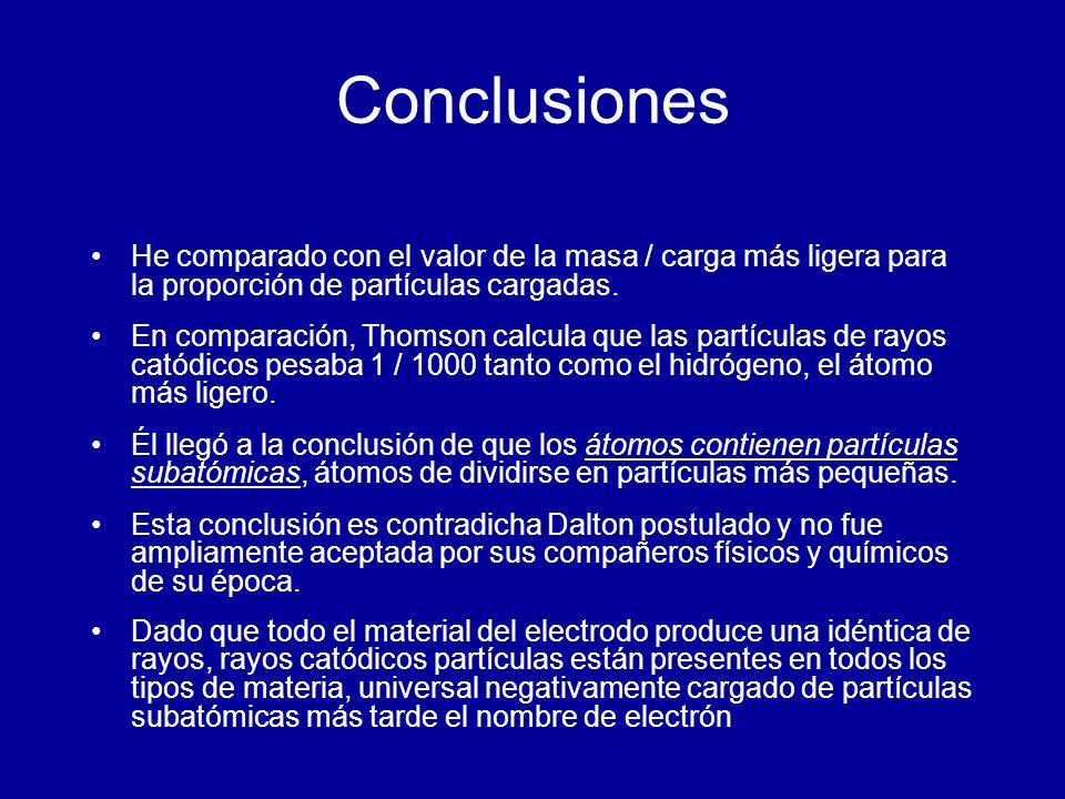 Conclusiones He comparado con el valor de la masa / carga más ligera para la proporción de partículas cargadas. En comparación, Thomson calcula que la