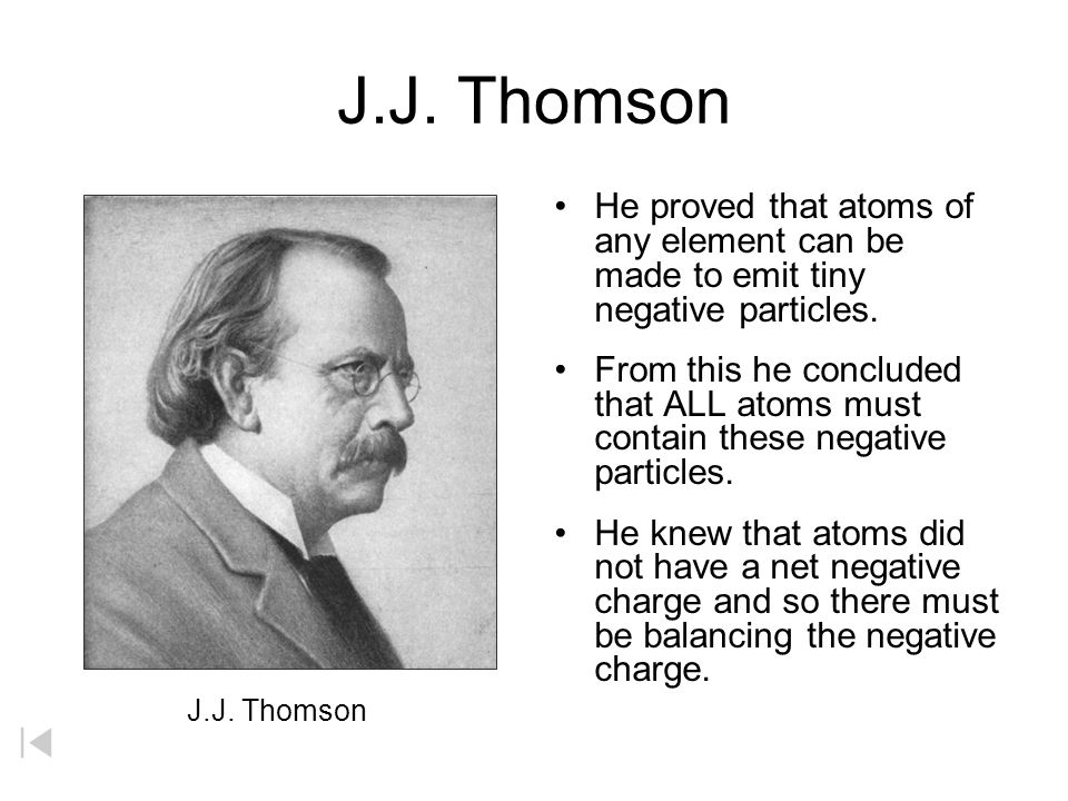 J.J. Thomson He proved that atoms of any element can be made to emit tiny negative particles. From this he concluded that ALL atoms must contain these