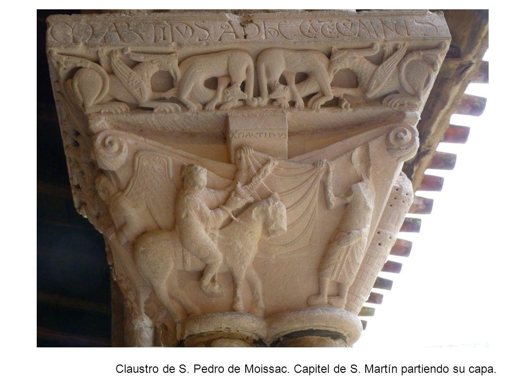 Claustro de S. Pedro de Moissac. Capitel de S. Martín partiendo su capa.