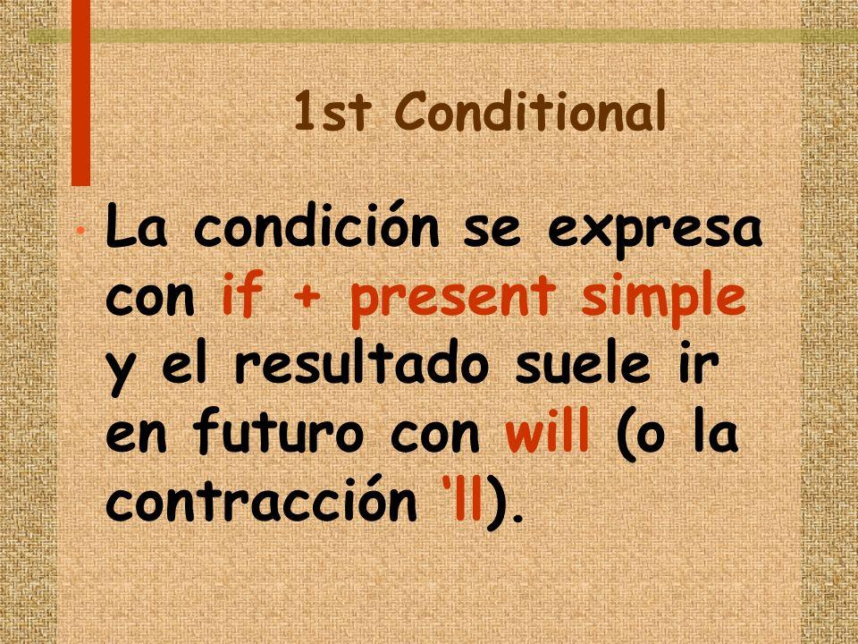 1st Conditional La condición se expresa con if + present simple y el resultado suele ir en futuro con will (o la contracción ll).