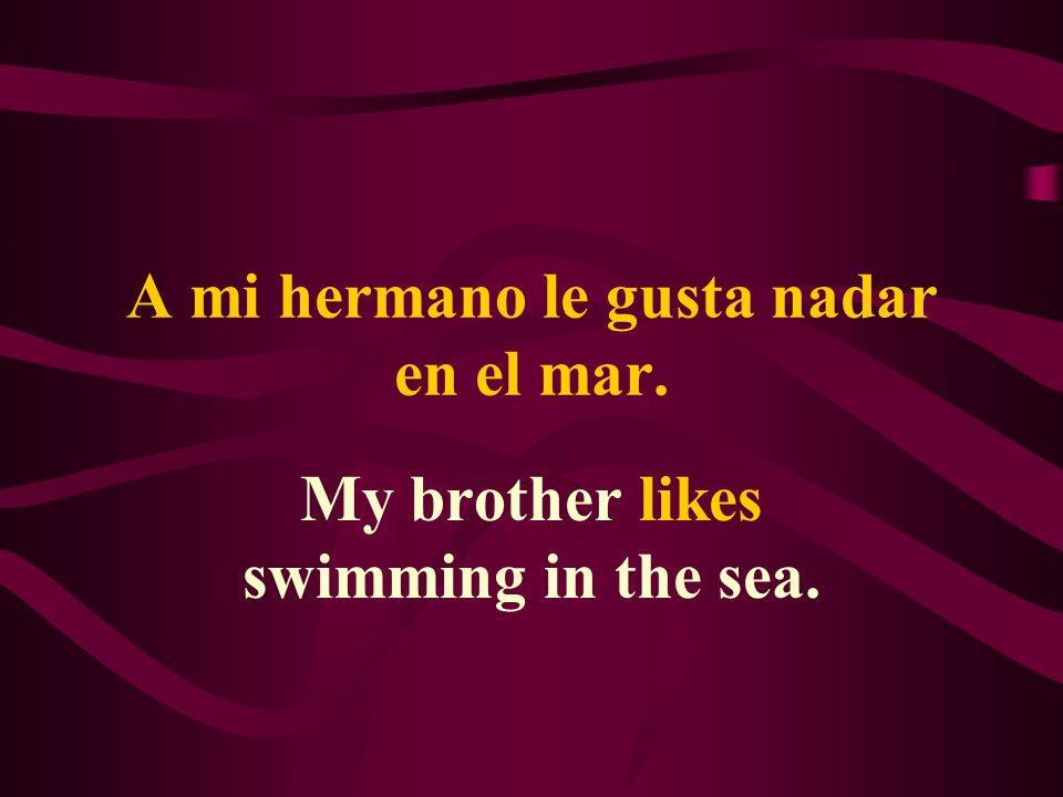 A mi hermano le gusta nadar en el mar. My brother likes swimming in the sea.