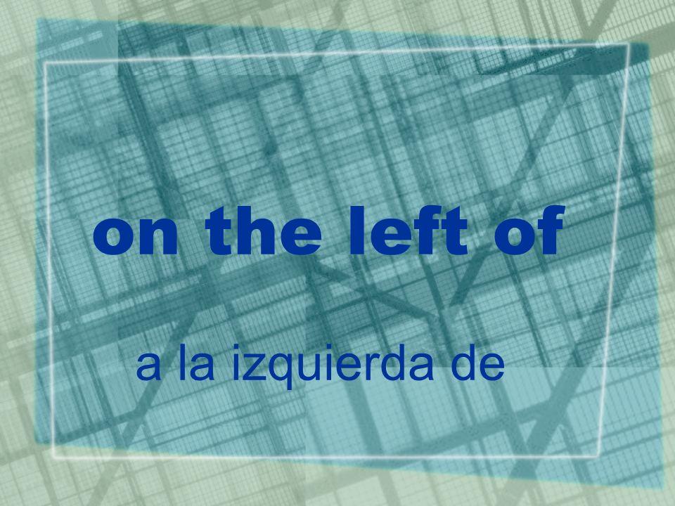 on the left of a la izquierda de