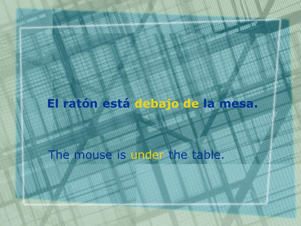 El ratón está debajo de la mesa. The mouse is under the table.