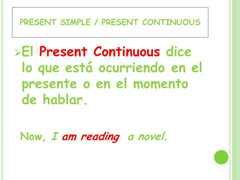 El Present Continuous dice lo que está ocurriendo en el presente o en el momento de hablar. Now, I am reading a novel.