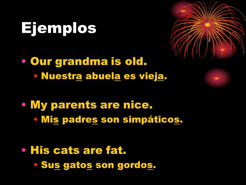 Ejemplos Our grandma is old. Nuestra abuela es vieja. My parents are nice. Mis padres son simpáticos. His cats are fat. Sus gatos son gordos.