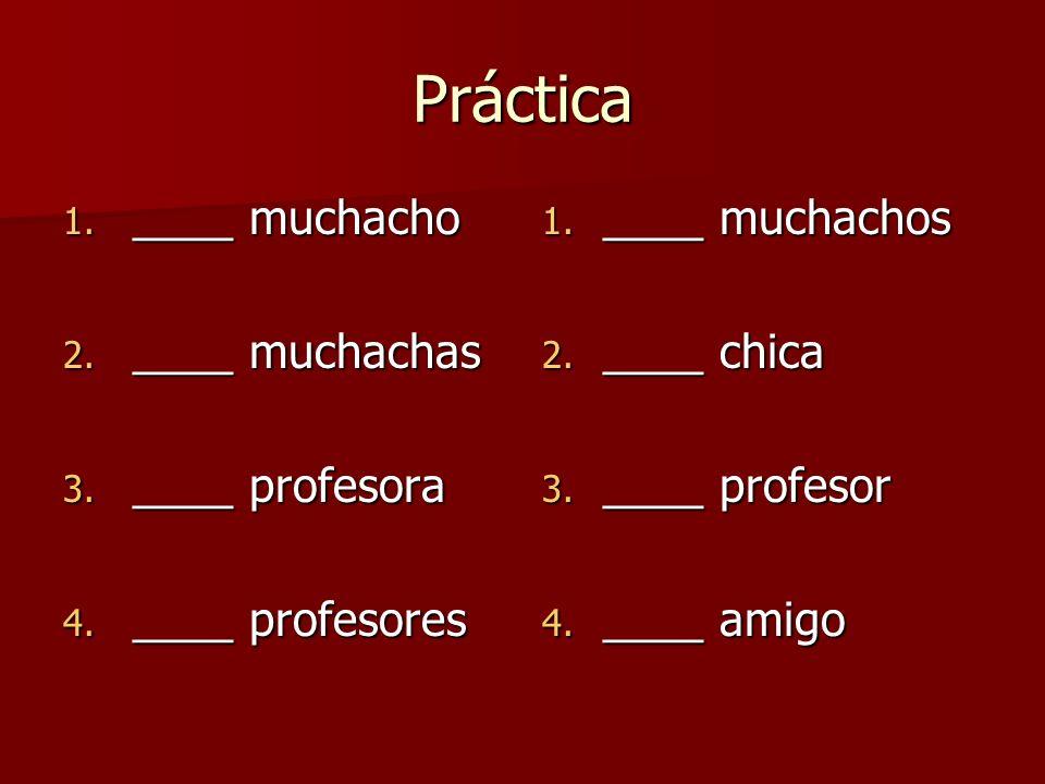 Práctica 1. ____ muchacho 2. ____ muchachas 3. ____ profesora 4. ____ profesores 1. ____ muchachos 2. ____ chica 3. ____ profesor 4. ____ amigo