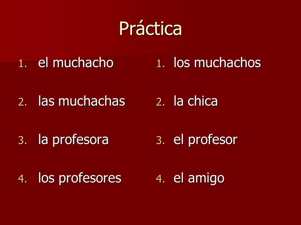 Práctica 1. el muchacho 2. las muchachas 3. la profesora 4. los profesores 1. los muchachos 2. la chica 3. el profesor 4. el amigo