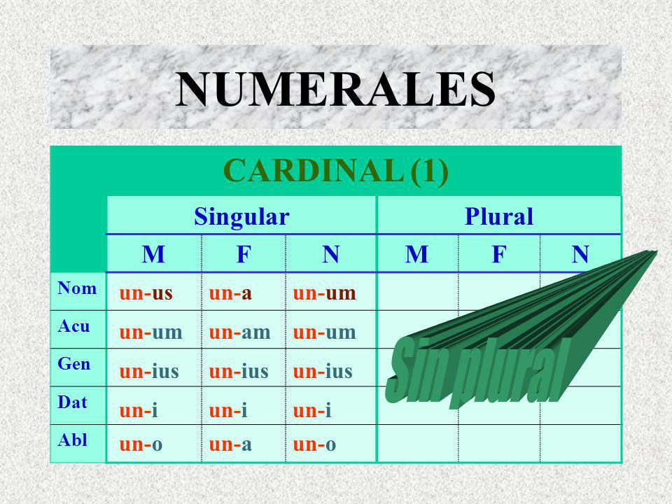 NUMERALES CARDINAL (1) SingularPlural MFNMFN Nom Acu Gen Dat Abl un-usun-aun-um un-amun-um un-oun-aun-o un-ius un-i