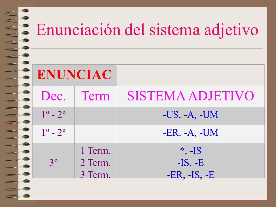 Enunciación del sistema adjetivo ENUNCIAC Dec.TermSISTEMA ADJETIVO 1º - 2º-US, -A, -UM 1º - 2º-ER.