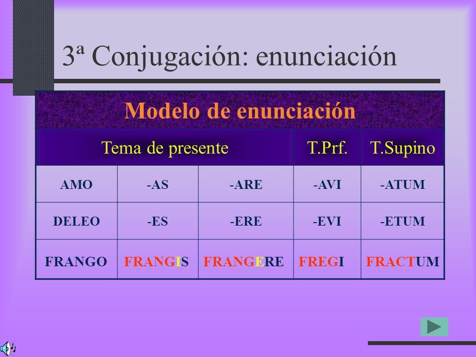 3ª Conjugación: enunciación Modelo de enunciación Tema de presenteT.Prf.T.Supino AMO-AS-ARE-AVI-ATUM DELEO-ES-ERE-EVI-ETUM FRANGOFRANGISFRANGEREFREGIF