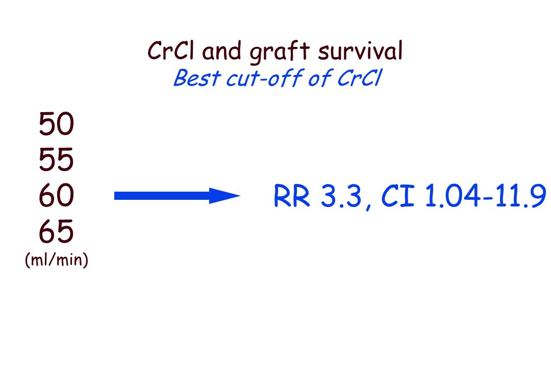 Vg and graft survival Best cut-off of Vg 4.0 4.5 5.0 5.5 6.0 (x10 6 3 ) RR 2.4, CI 1.03-5.6