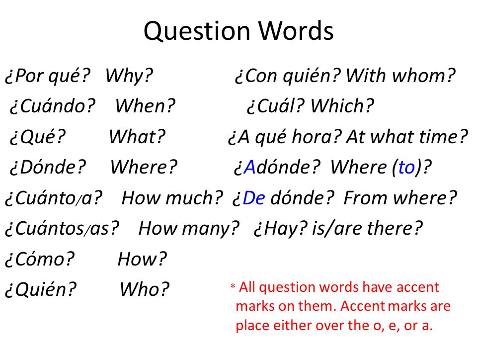 Question Words ¿Por qué? Why? ¿Con quién? With whom? ¿Cuándo? When? ¿Cuál? Which? ¿Qué? What? ¿A qué hora? At what time? ¿Dónde? Where? ¿Adónde? Where