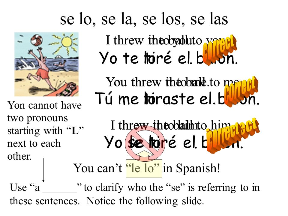 el balón.tiraste Yo teel balón.tirélo. Tú melo. Yoel balón.tirélo. le se You cant le lo in Spanish! Yon cannot have two pronouns starting with L next