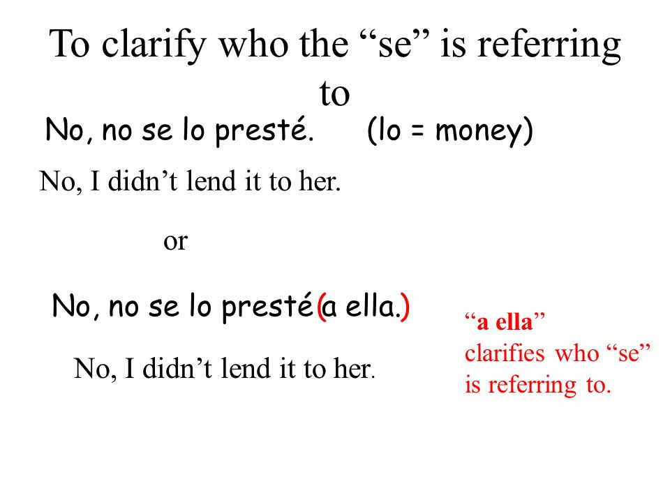 No, no se lo presté. (lo = money) No, I didnt lend it to her. To clarify who the se is referring to or No, no se lo presté a ella. No, I didnt lend it