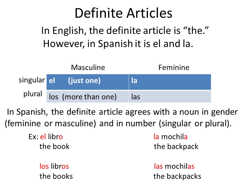 Definite Articles In English, the definite article is the. However, in Spanish it is el and la. el (just one)la los (more than one)las MasculineFemini